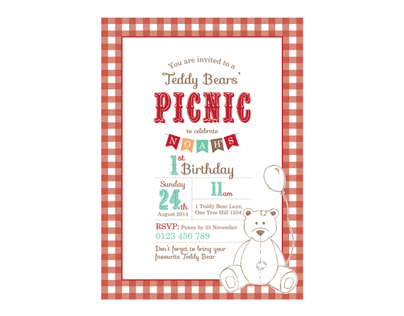 teddy bear picnic invitation template printable custom birthday