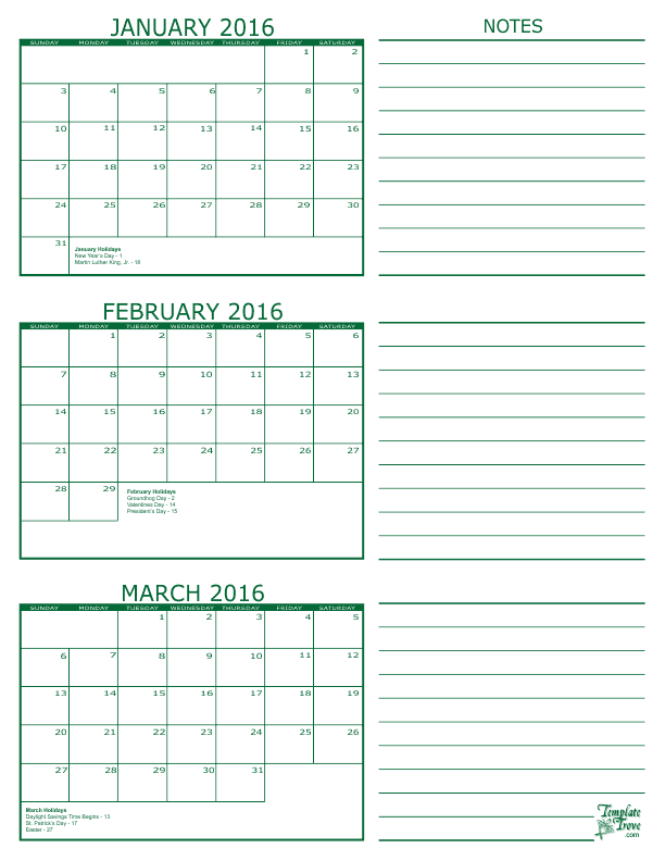 2 Month Calendars for 2016 – 2018 – Template Trove | Serious Stuff