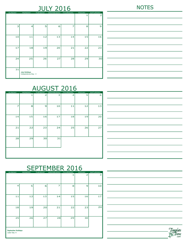 Template Trove 3 Month Calendar 2017 December 2018 Printable