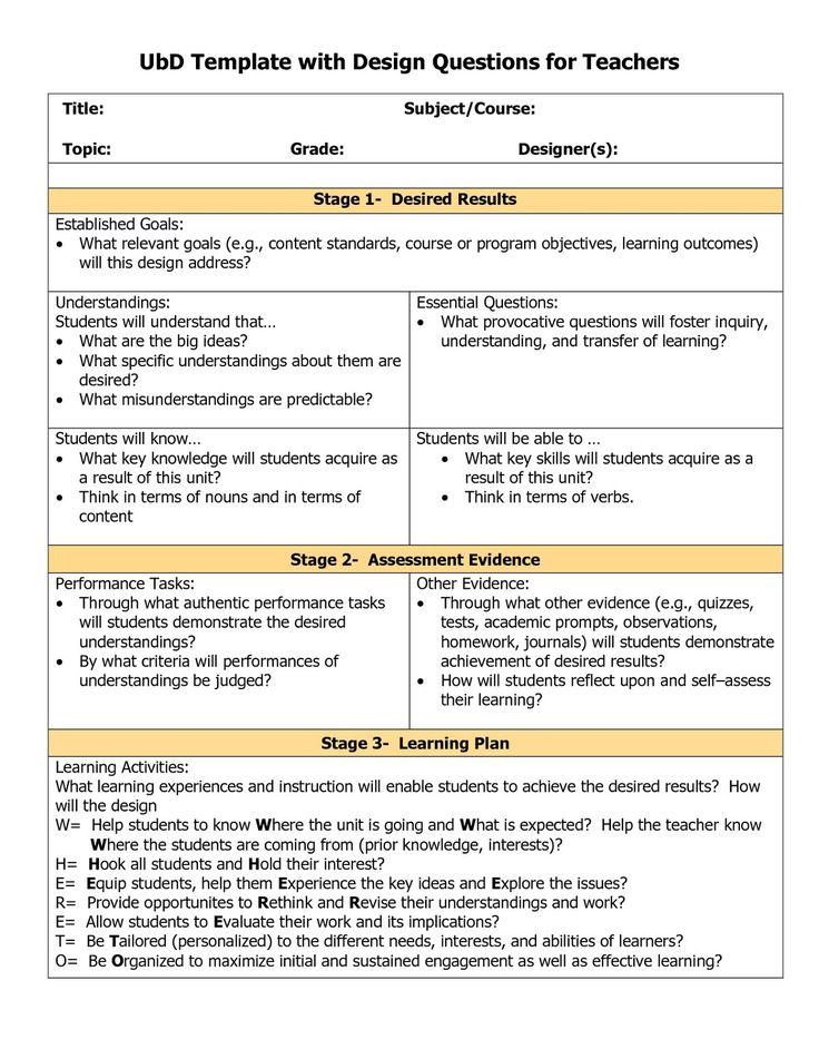 ubd lesson plan template 78 best understanding design images on