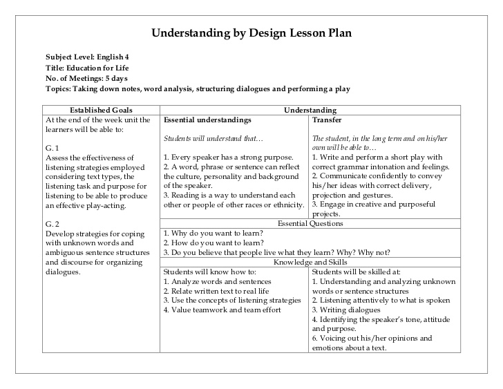ubd lesson plan template word April.onthemarch.co