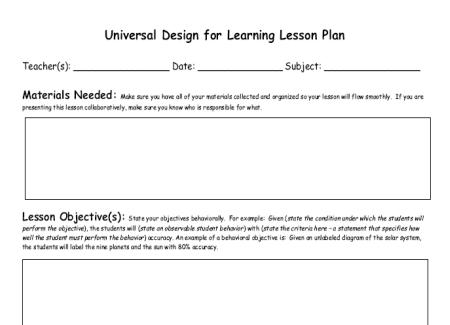 udl lesson plan template doc udl lesson plan template pics