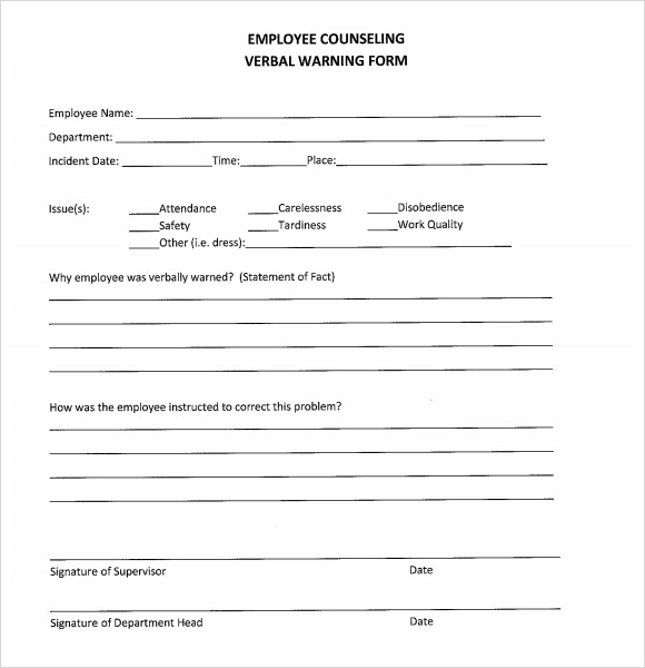 Verbal Warning Template Forms Fillable & Printable Samples for