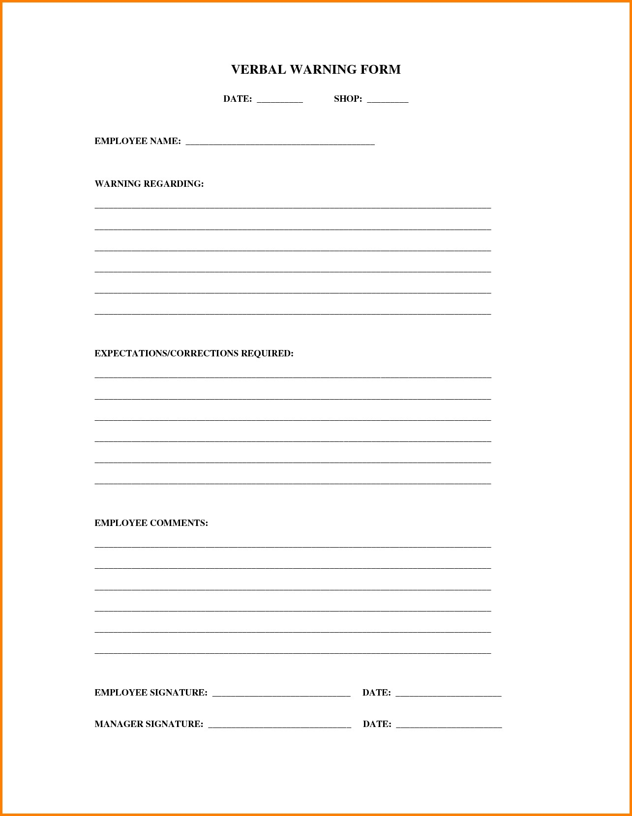 employee verbal warning form April.onthemarch.co