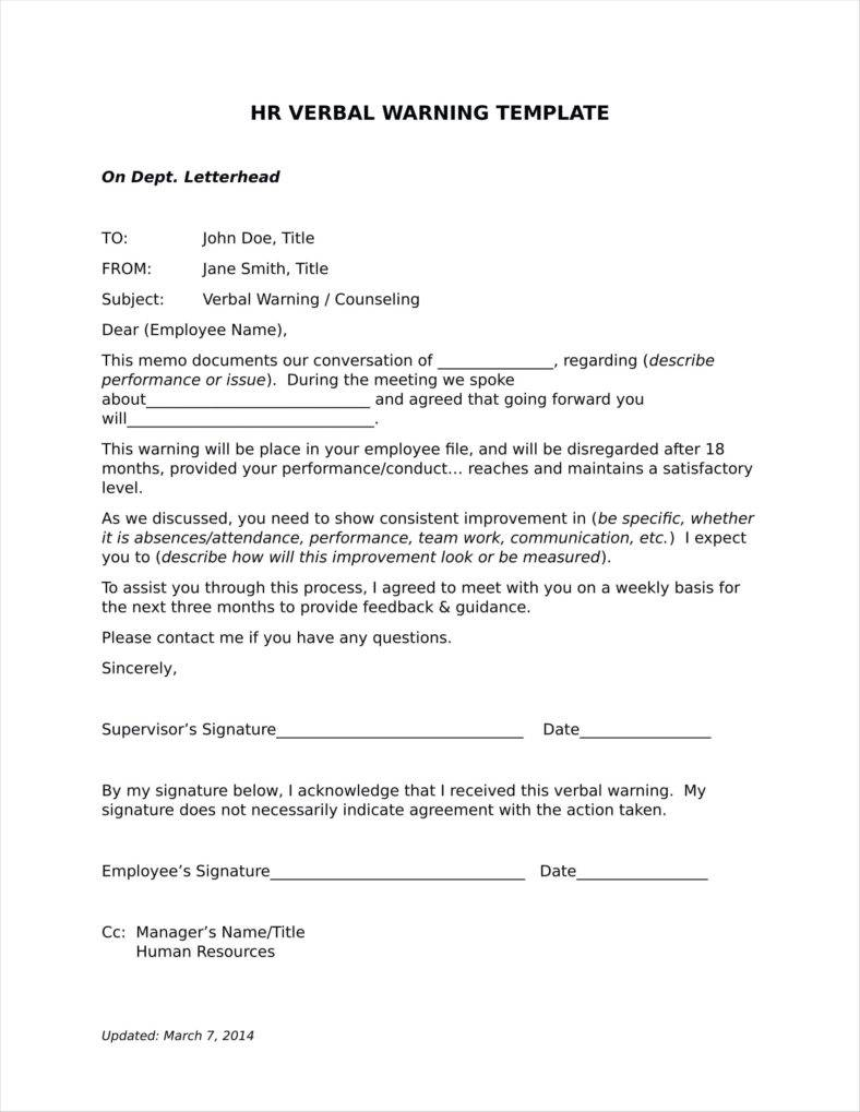 Verbal Warning Letter Template Free New 29 Of Employee Written