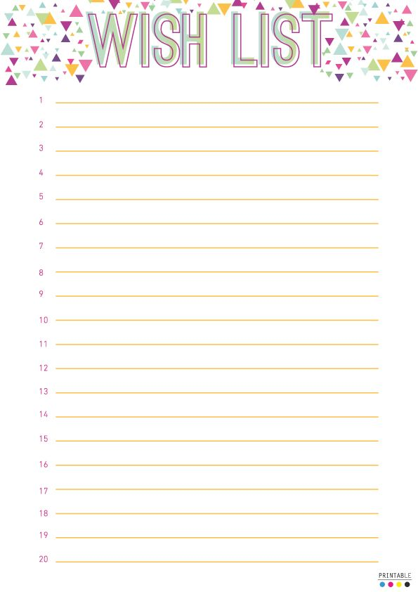 Birthday Wish List Template Printable | Organization | Pinterest