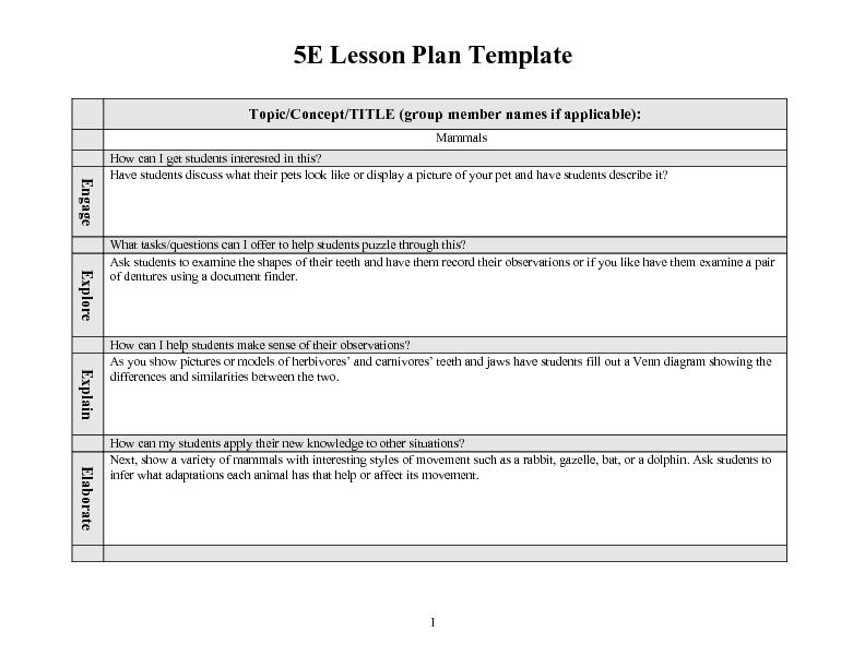 5 E Lesson Plan Template Filename – port by port