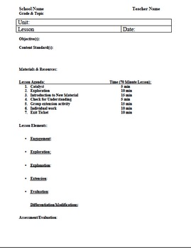 5E Lesson Plan Template by Aaron Quigley | Teachers Pay Teachers