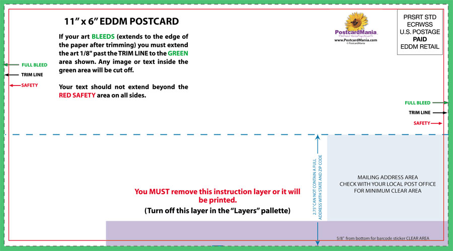 Download Postcard Design And Mailing Templates Postcardmania 6X11