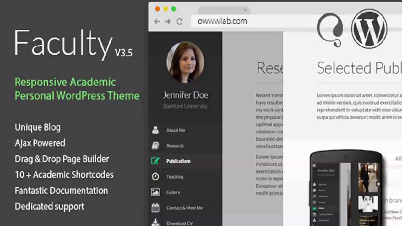 Faculty Responsive Academic WordPress Theme | Website Templates