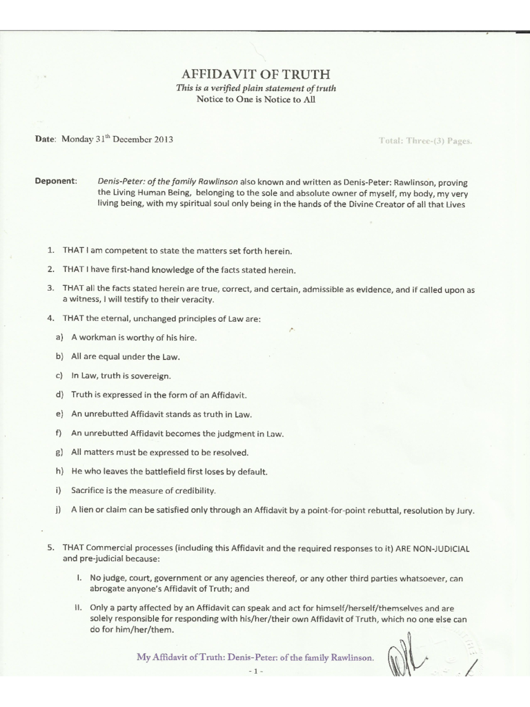 Affidavit Of Truth Forms and Templates Fillable & Printable