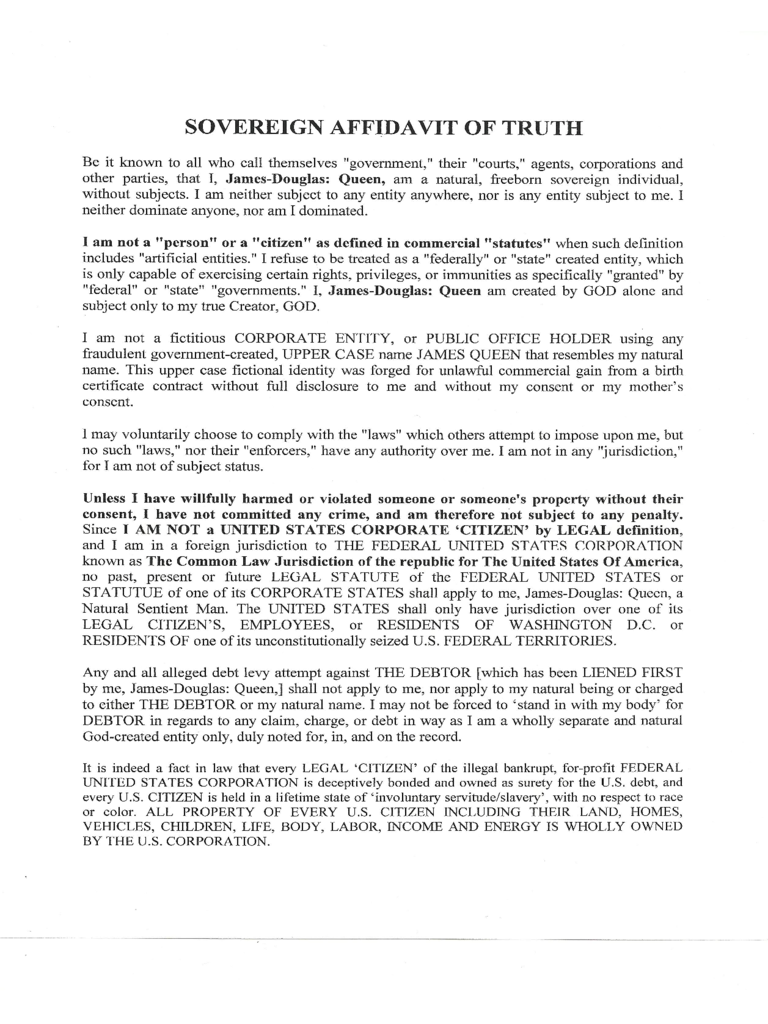 Affidavit of truth template in Word and Pdf formats