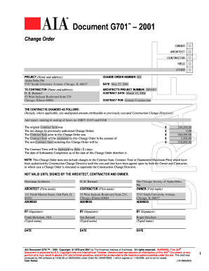 Aia Change Order Form Fill Online, Printable, Fillable, Blank