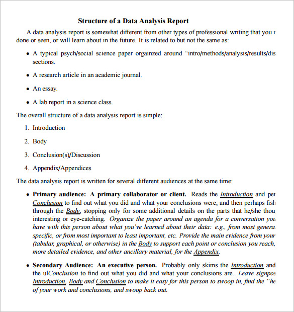 template for business analysis report analysis report template