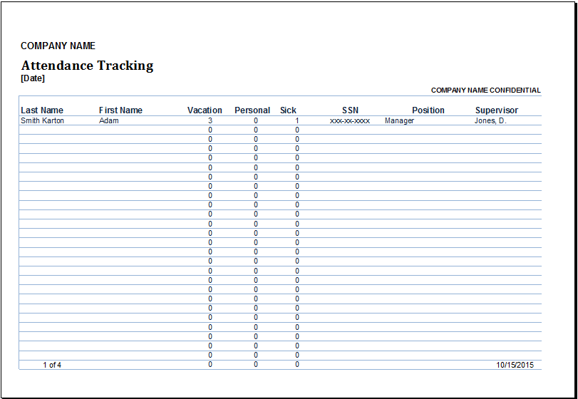 excel attendance tracker template Melo.in tandem.co