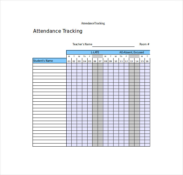 Attendance Tracking Template 10+ Free Word, Excel, PDF Documents