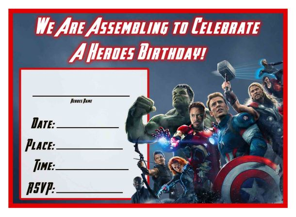 Avengers Birthday Invitations reignnj.Com