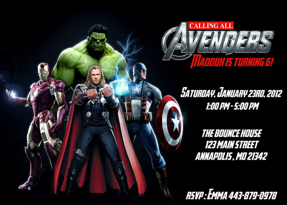 Avengers Custo Amazing Avengers Birthday Invitations Custom