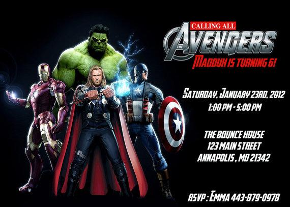Avengers Custo Amazing Avengers Birthday Invitations Custom