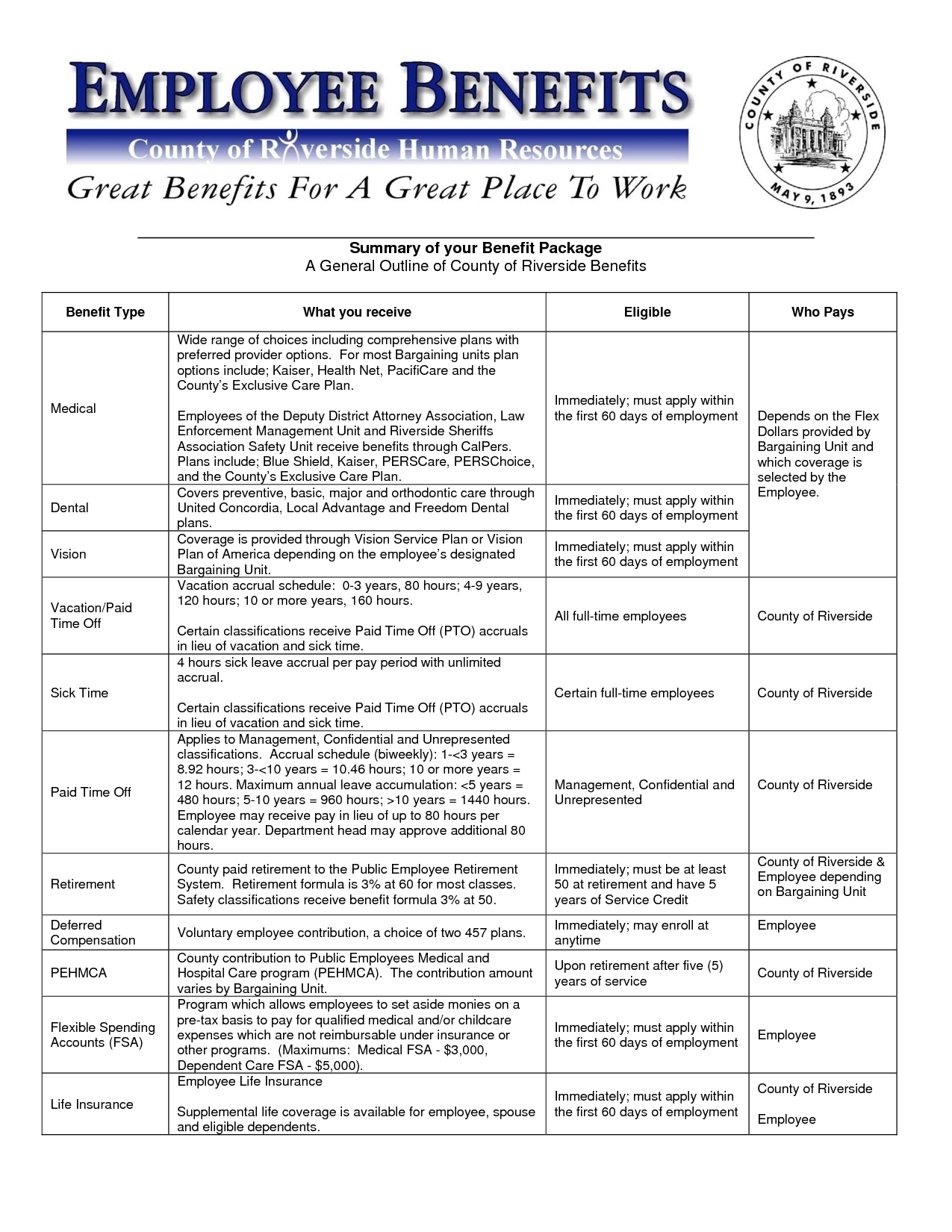 employee benefits template Kleo.beachfix.co