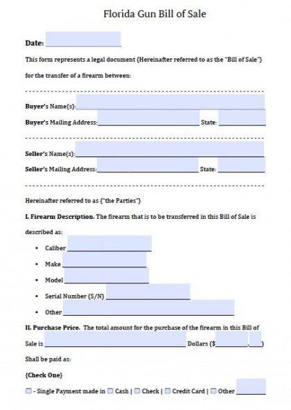 Free Florida Firearm Bill of Sale Form | PDF | DOCX