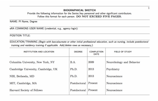 nih biosketch sample template word Archives Southbay Robot