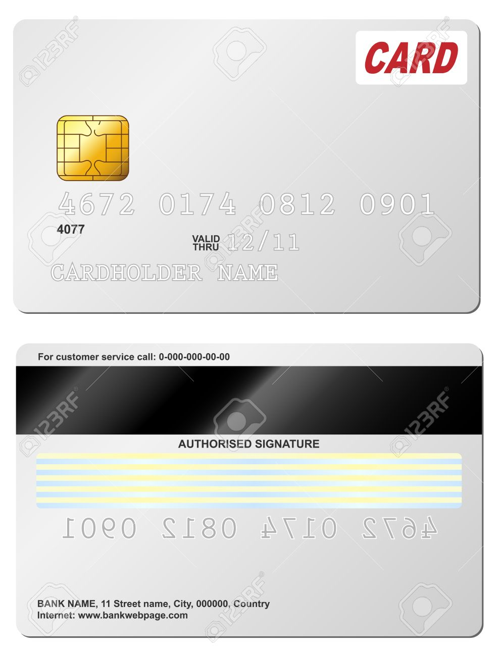 Blank Credit Card Vector Template. Front And Back View. Royalty