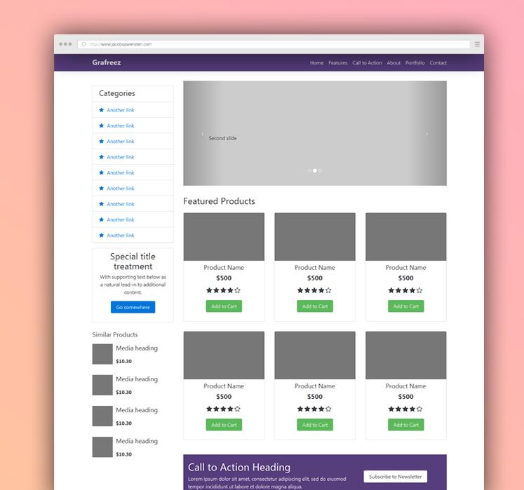 Ecommerce Starter Template Bootstrap Grafreez