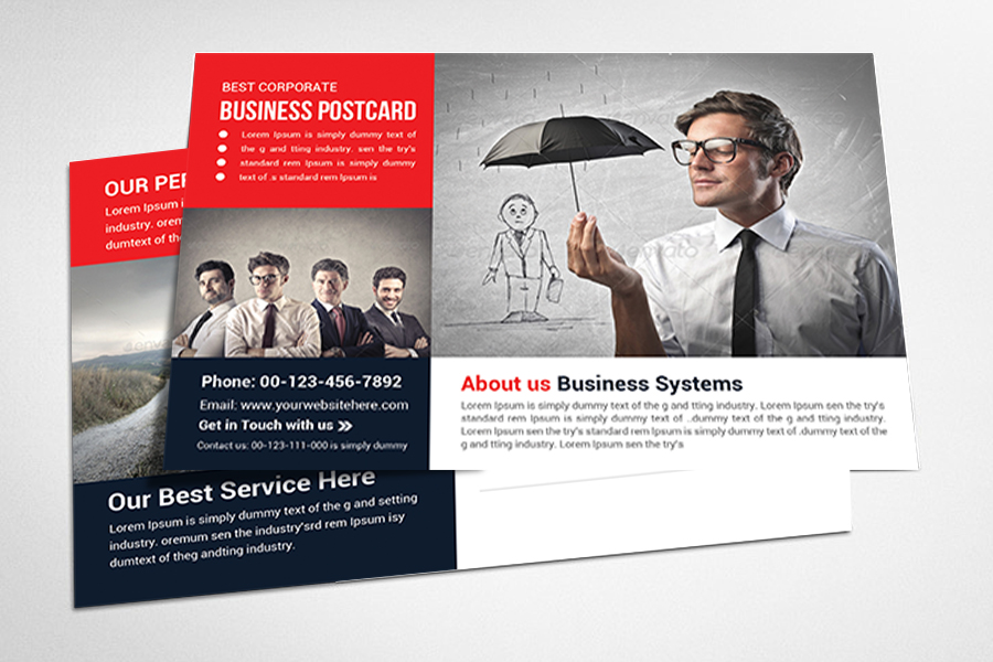 Business Postcard Template – Full Service Marketing – Commercial