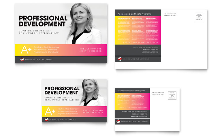 Adult Education & Business School Postcard Template Word & Publisher