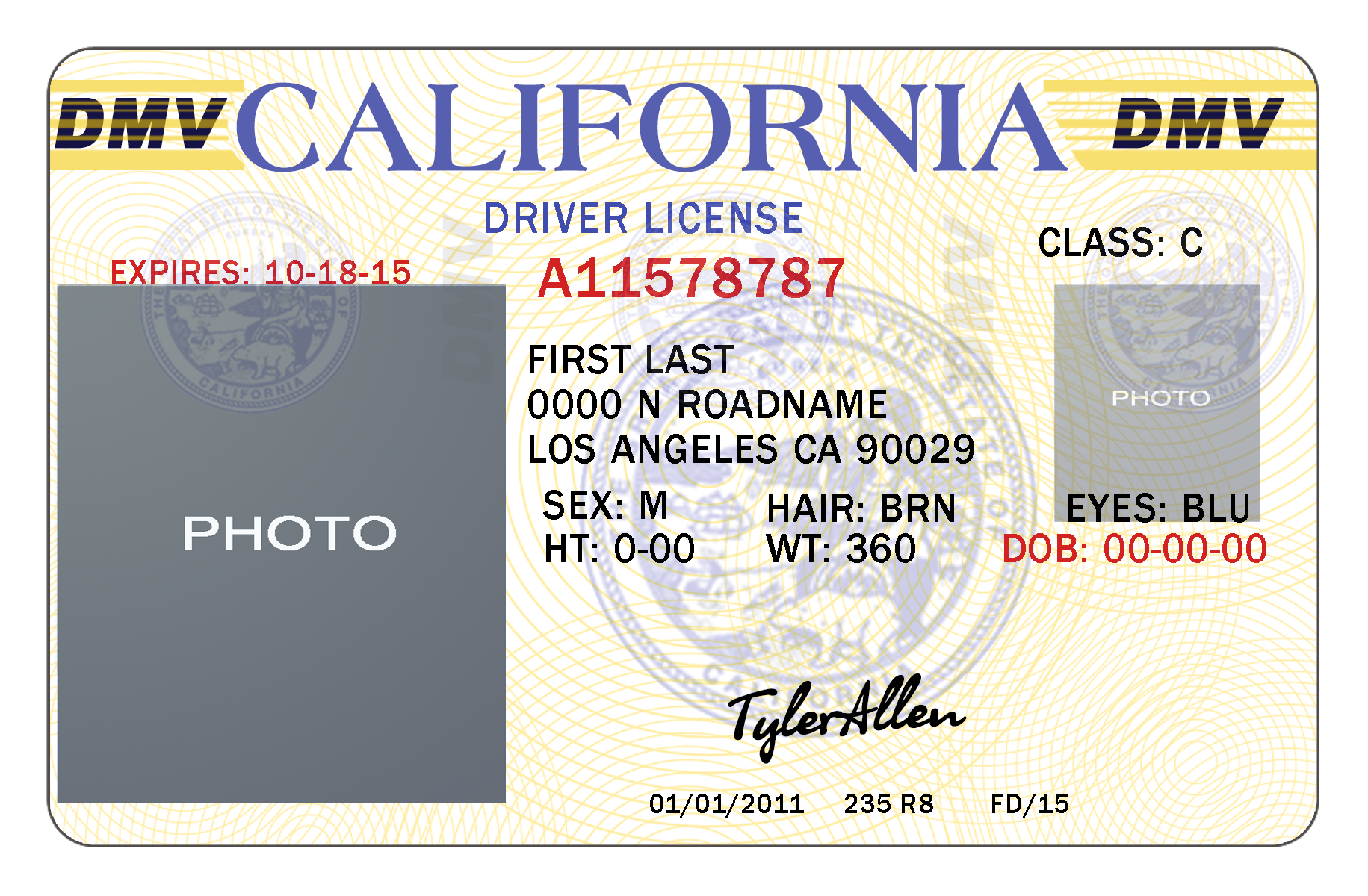 Template california drivers license editable photoshop file .psd