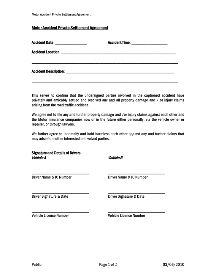 car accident settlement agreement template 4 workers comp