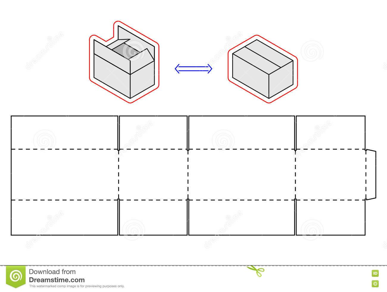 Horizontal Box Template. Vector Packing. Simple Cardboard Cut