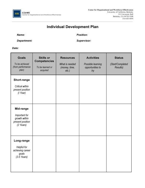Writing a Plan for Your Future A Career Path Template
