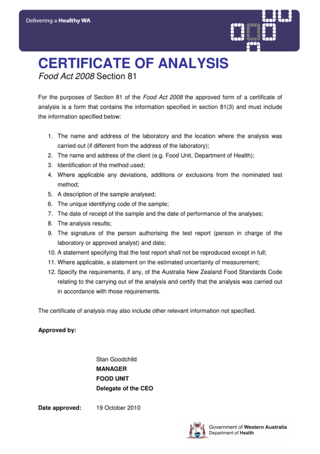 Certificate of Analysis Templates 5 Samples for (Word and PDF)