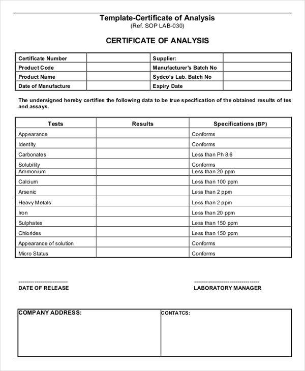 Certificate of Analysis Template 7+ Free Word, PDF Documents