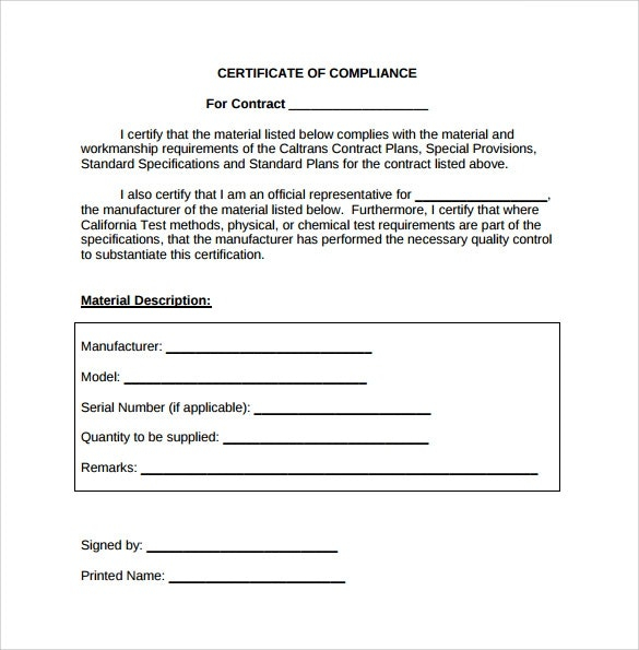 Certificate Compliance Template Sample 12 Documents With Regard