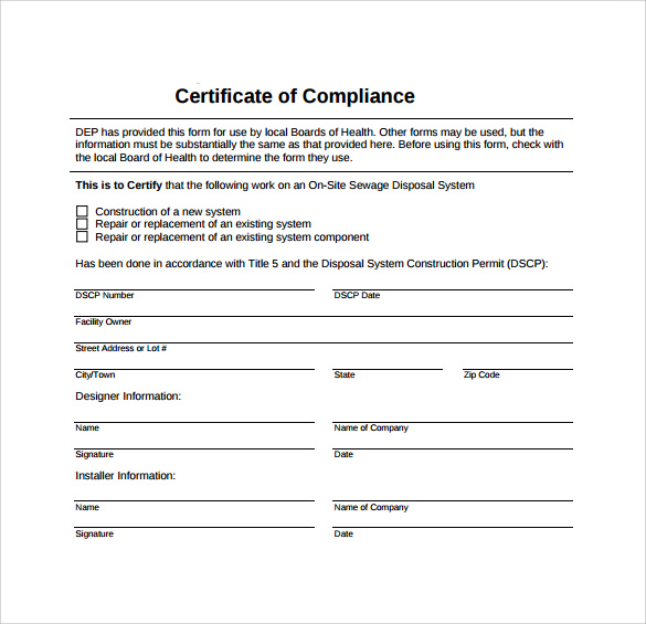 certificate of compliance template certificate of compliance form