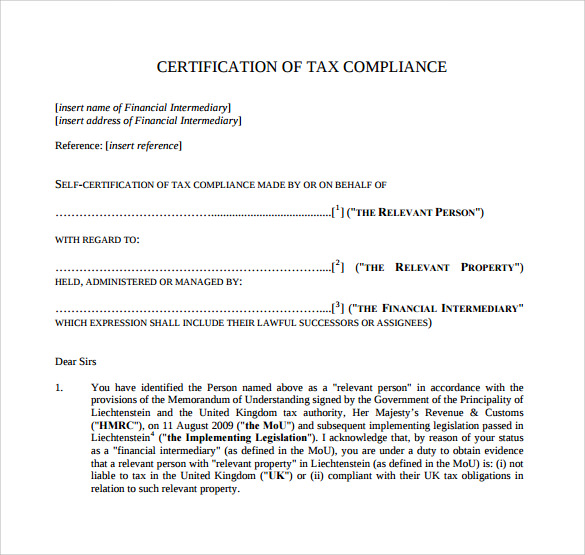 certificate of compliance template sample certificate of