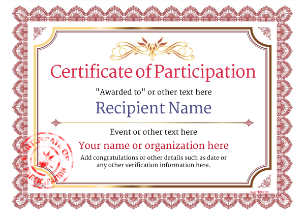 Participation Certificate Templates Free, Printable, Add badges