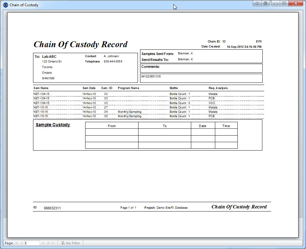 Sampling Programs electronic chain of custody, sample labels