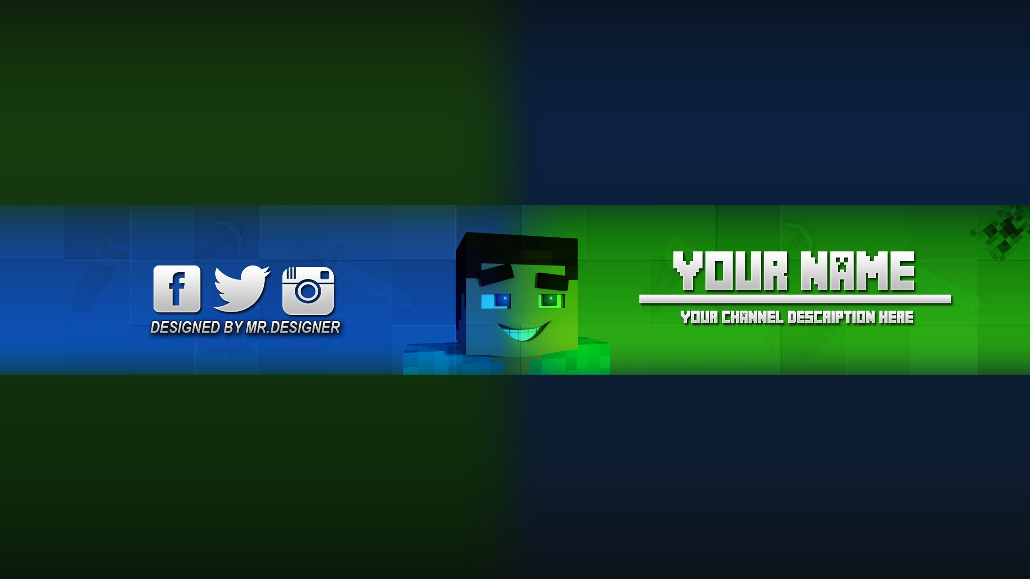 Photoshop Minecraft Banner/Channel Art Template (download .psd) #4