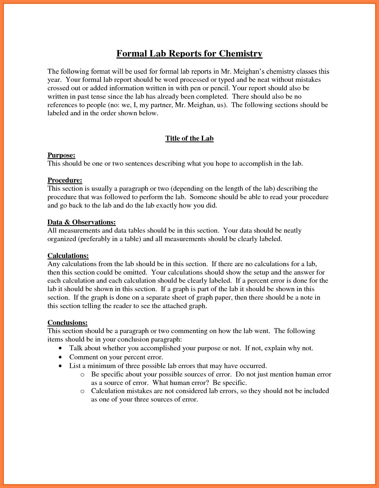 New 8 Chemistry Lab Report Example Valid Sample Chemistry Lab