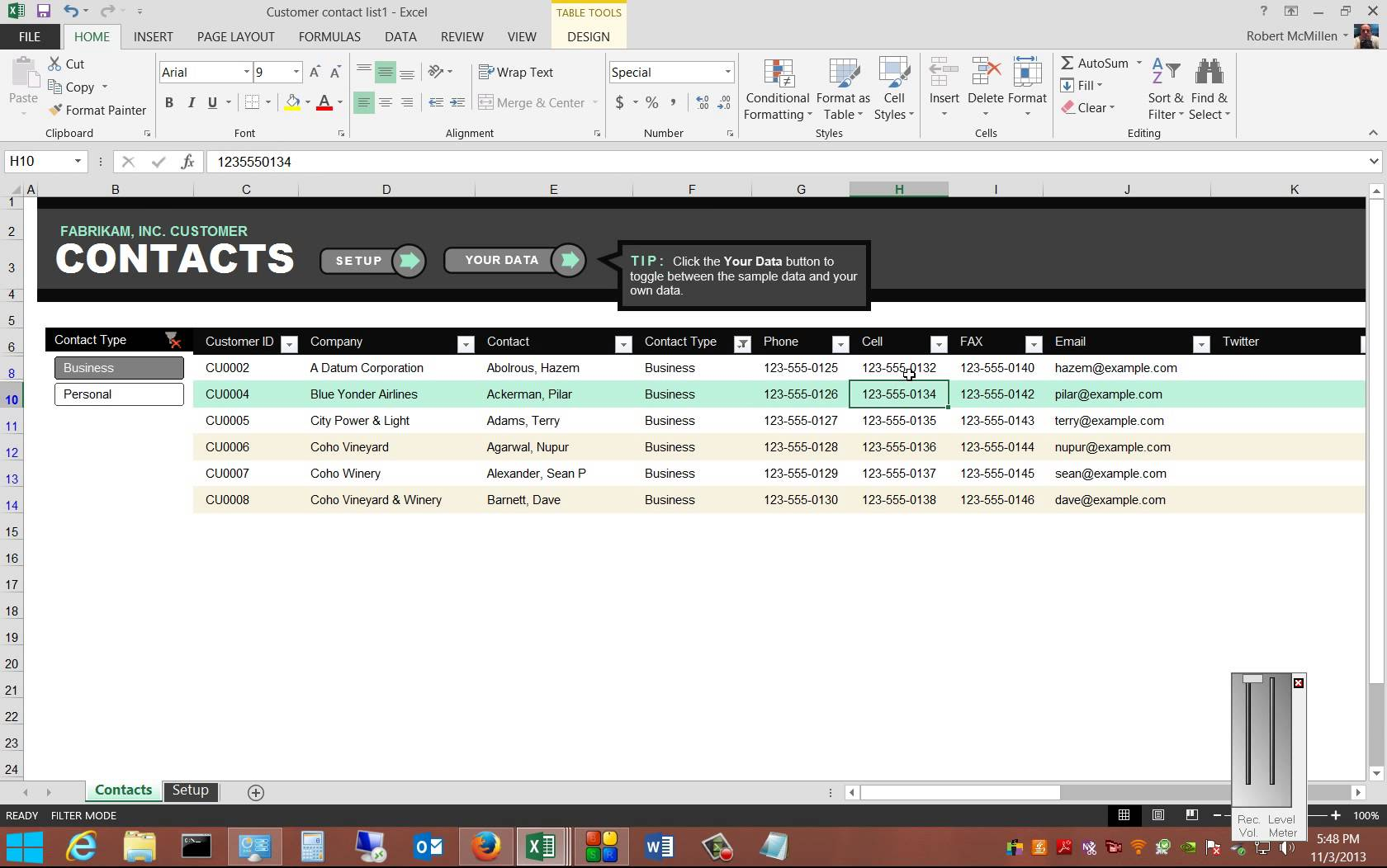 Review of the free Customer Contact Template in Microsoft Excel