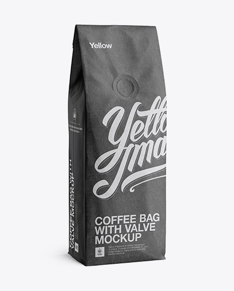 250g Kraft Coffee Bag With Valve Mockup Half Turned View in Bag