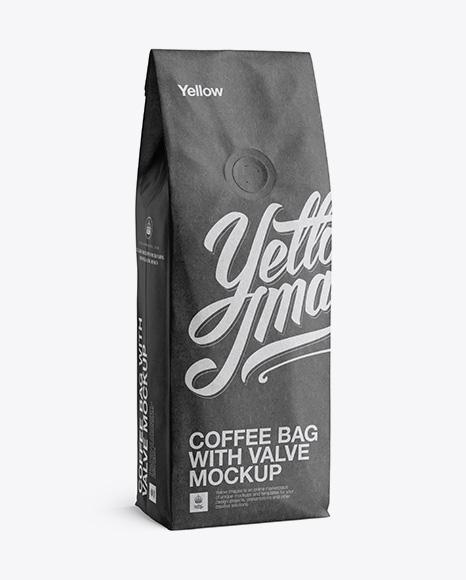 250g Kraft Coffee Bag With Valve Mockup Half Turned View in Bag