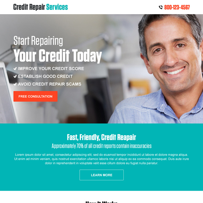 Credit Repair PPC Landing Page Design Template With Free Builder