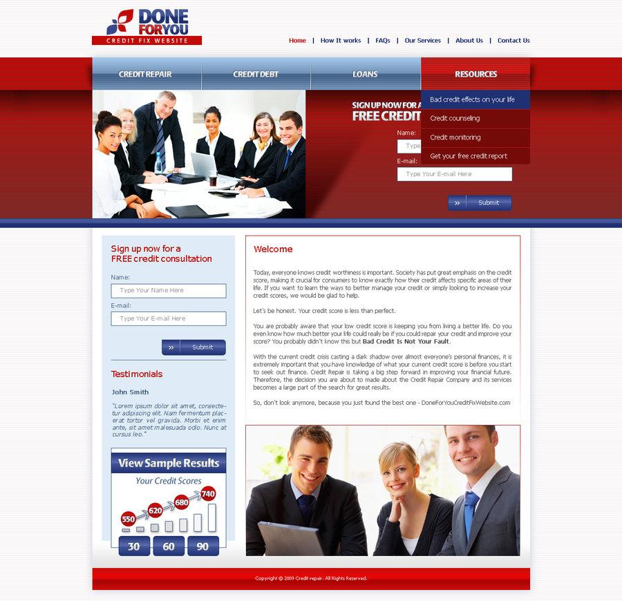 best credit repair service landing page design templates