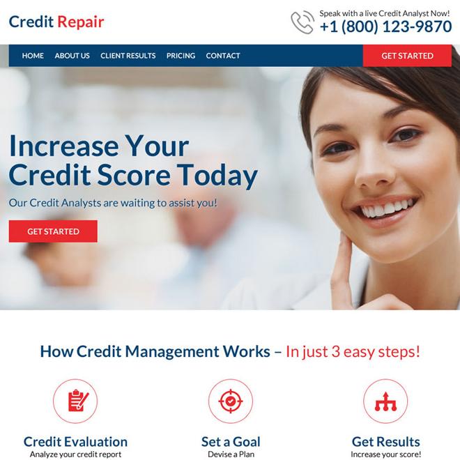 best converting responsive credit repair html website template