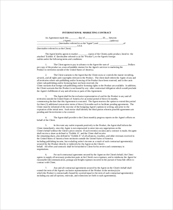 16+ Marketing Contract Templates – Free Sample, Example, Format